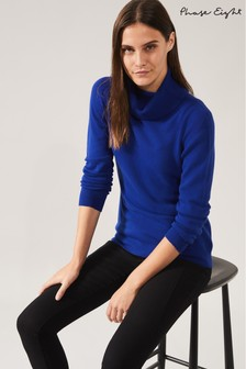 Phase Eight Blue Reni Roll Neck Top