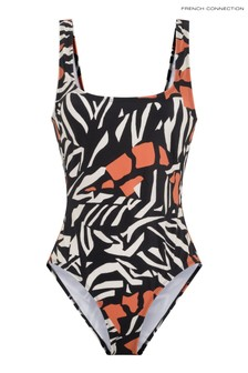 French Connection Black Recycled Afara Print Swimsuit