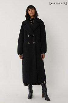 Warehouse Black Maxi Teddy Bear Coat