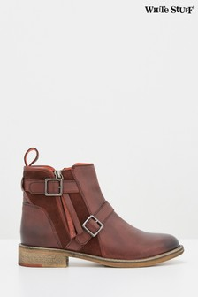 White Stuff Claret Brit Buckle Leather Ankle Boots