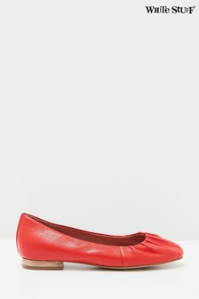 White Stuff Red Ruched Leather Ballerina Shoes