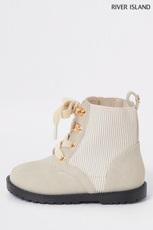 River Island Cream Mini Ribbed Eyelet Cleated Flat Boots