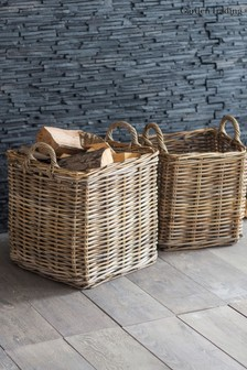 Set of 2 Square Rattan Baskets by Garden Trading