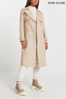 River Island Beige Quilted Trench Coat