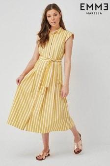 Emme by Marella Yellow Stripe Yelina Cotton Shirt Dress