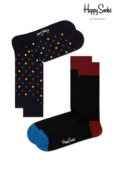 Happy Socks Black/Multi Socks Two Pack