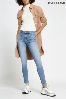 River Island Denim Molly Mid Rise Ripped Palm Jeans
