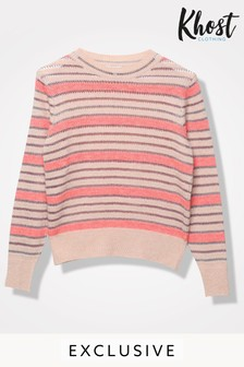 Khost Pink Foil Stitch Stripe Jumper