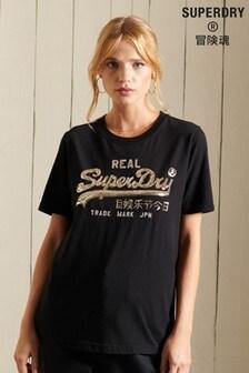 Superdry Blue Vintage Logo Boho Sparkle T-Shirt