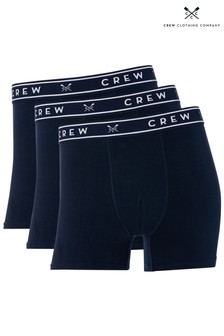 Crew Clothing Company Blue Solid Boxers Three Pack