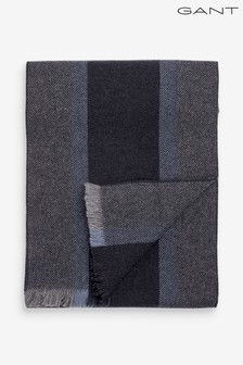 GANT Mens Grey Striped Wool Scarf
