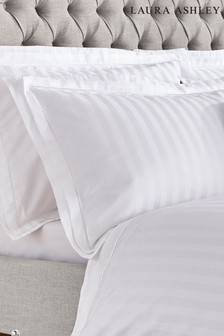 Set of 2 Laura Ashley White Shalford 400 Thread Count Pillowcases