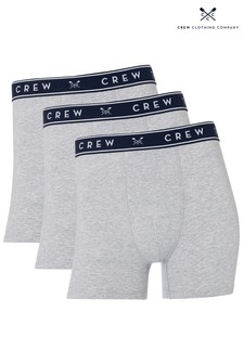 Crew Clothing Company Grey Solid Boxers Three Pack