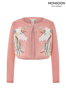 Monsoon Children Pink Starlight Unicorn Cardigan