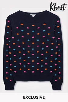 Khost Blue Pom Pom Knit Jumper