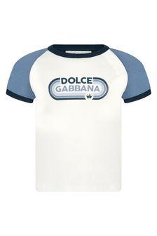 Dolce & Gabbana Kids Dolce & Gabbana Baby Boys Cream Cotton T-Shirt