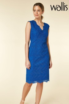 Wallis Blue Petite Lace Scallop V-Neck Dress