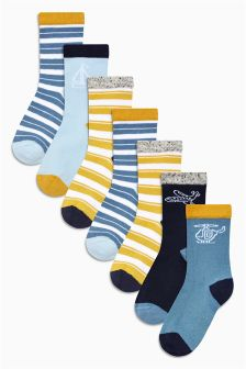 Blue Transport Socks Seven Pack (Younger)