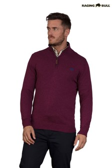 Raging Bull Red Knitted Cotton Cashmere 1/4 Zip Sweater