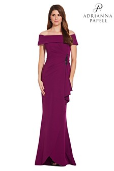 Adrianna Papell Pink Off Shoulder Draped Crepe Gown
