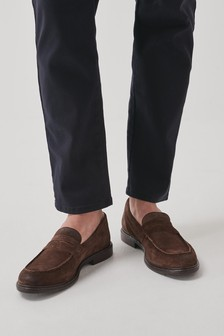 Waxy Suede Trident Loafers