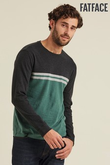 FatFace Green Tenby Chest Stripe Crew