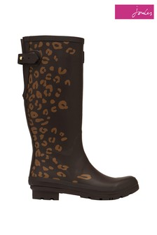 Joules Brown Welly Print Tall Printed Wellies With Adjustable Back Gusset
