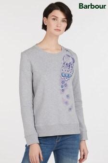 Barbour® Heritage Grey Marl Peacock Embroidery Sweatshirt