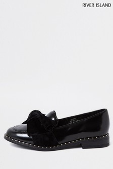River Island Black Bow Stud Rand Loafers