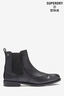 Superdry黑色切爾西靴