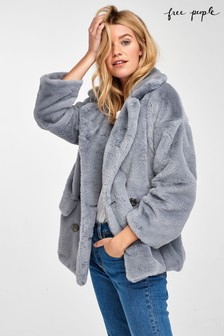 Free People Solid Faux Fur Coat