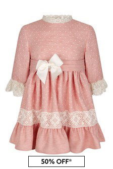 Girls Pink Lace Trim Dress