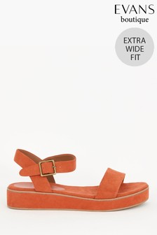 Evans Extra Wide Fit Orange Flatform Sandals