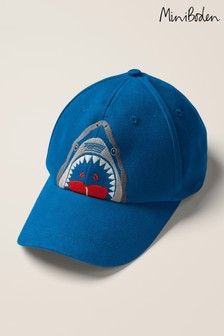 Mini Boden Blue Embroidered Shark Cap