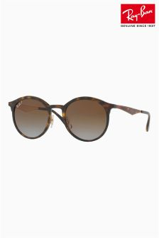 Ray-Ban® Tortoiseshell Round Metal Arm Sunglasses
