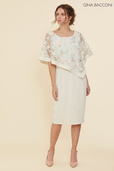 Gina Bacconi Cream Halsey Cape Dress