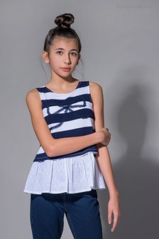 Angel & Rocket White Bow Stripe Top