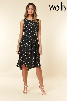 Wallis Black Petite Confetti Print Tiered Dress