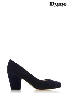 Dune London Navy Suede Anthena Block Heel Round Toe Court Shoes