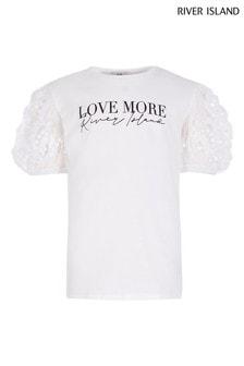 River Island White Puff Sequin Sleeve T-Shirt