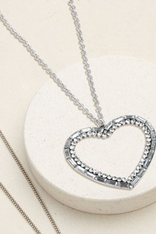 Open Heart Sparkle Long Pendant Necklace