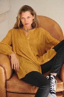 Textured Pintuck Longline Shirt