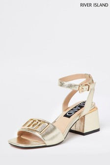 River Island Gold Branded Two Part Sandals