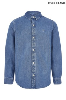 River Island Blue Long Sleeve Denim Shirt