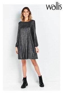 Wallis Petite Silver Glitter Swing Dress