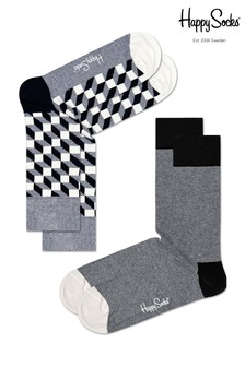 Happy Socks Grey/White Socks Two Pack