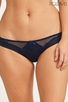 Figleaves Blue Juliette Lace Bikini Briefs