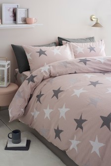 Brushed Cotton Knit Effect Star Duvet Cover And Pillowcase Set