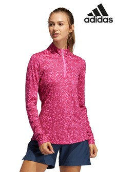 adidas Pink Golf Aero Ready Print Long Sleve Polo Shirt