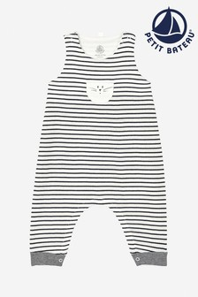 Petit Bateau Navy/White Striped Dungarees